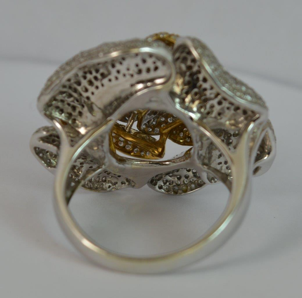 baguette diamond index cocktail in round set and white cts ring gold
